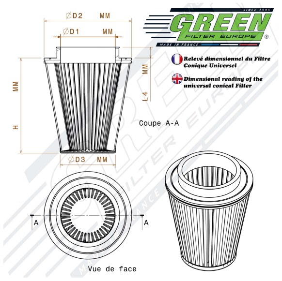 Conical filter dimensions
